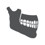 A gray graphic of a jawbone